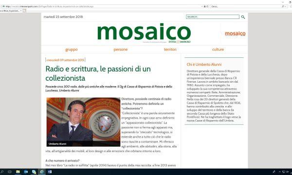 INTERVISTA SU RIVISTA MOSAICO